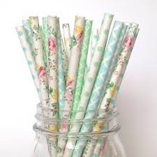 Mint Floral Paper Straws Botanical Garden Mint Colored Paper StrawsllL