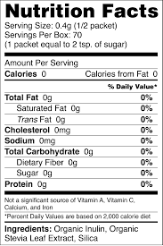 sweetleaf organic stevia sweetener packets stevia 35ct nutrition facts sweetleaf
