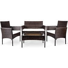 Outdoor furniture set Patio Image Unavailable Amazoncom Amazoncom Merax Pc Outdoor Garden Rattan Patio Furniture Set