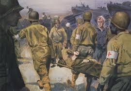painting evacuating wounded solrs by harrison standley evacuating wounded solrs england world war ii