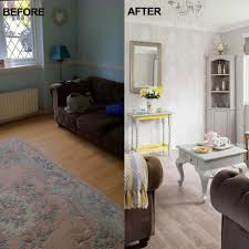 Wallpaper Living Room Designs Before And After Paint And Wallpaper Have Transformed This Living