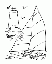 Small Picture Sailboat and Lighthouse coloring page for kids transportation