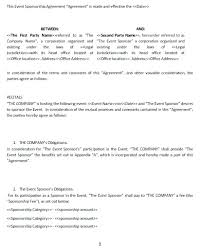 Sponsorship Agreement Template – Rootandheart.co