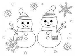 2つの雪だるまのぬりえ線画イラスト素材 イラスト無料かわいい