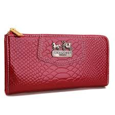 Coach Madison Continental Zip In Croc Embossed Large Red Wallets AGI