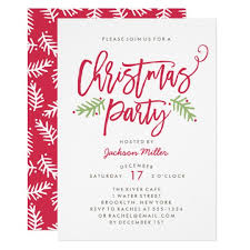 Christmas Inviations Modern Brush Script Christmas Holiday Party Invitation
