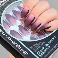 Royal Umělé Nehty Vínovo Růžovo Fialové Dark Illusion Stiletto Glue On False Nails Tips 24ks S Lepidlem 3g