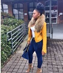 jacket yellow with fur ming lee yellow fur blue leather jacket curly hair shoes fur collar