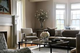 Gray And Brown Living Room With Glass Coffee Table View Full Size