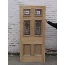 sd023 victorian edwardian original stained glass 6 panel exterior door with fl centre panel