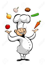 Happy Smiling Cartoon Chef Juggling By Fresh Tomato And Onion