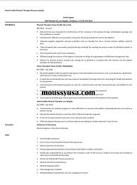Resume For Physical Therapist Home Health Physical Therapist Resume Sample Resume Builder