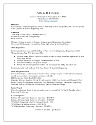 Industrial Engineer Resume New Section Mesmerizing Anthony R Ferrentino Resume Civil Engineering