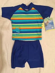 Details About New Iplay M 6 12 Month Two Piece Swimsuit With Built In Swim Diaper Blue Infant