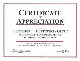Certificate Recognition Certificate Of Recognition The Property Group