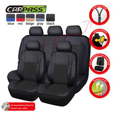 universal car seat covers faux leather full set for car truck suv black airbag