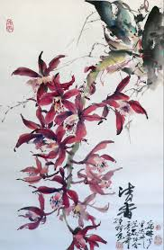 orchid2 spontaneous style hang scroll 18 x36