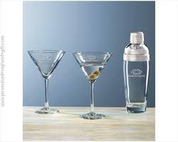 glass martini shaker with 2 glasses custom engraved