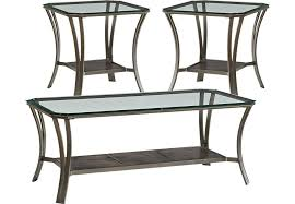 glass living room furniture. Allie Metal 3 Pc Table Set Glass Living Room Furniture