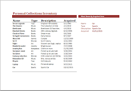 Ms Excel Personal Collection Inventory Template | Excel Templates