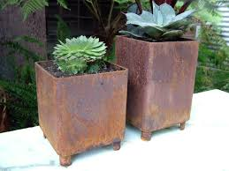modern metal planters image of metal planter boxes rusty weld