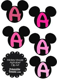 pink mickey mouse head letter a clipart