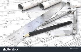 architectural house drawing. Plain House Architectural House Drawings And Blueprints Rolls Ruler Pencil Eraser On House Drawing N