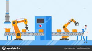 Assembly Line Design Smart Industry Technology Assembly Line Flat Style Design