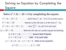 7 solving an equation by completing the square 7