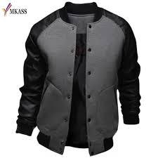 cool mens baseball jacket autumn fashion slim black pu leather sleeve er jacket jaquetas men brand varsity jackets biker jackets mens coats and jackets