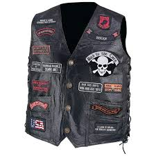 diamond plate buffalo leather biker vest with 23 patches large