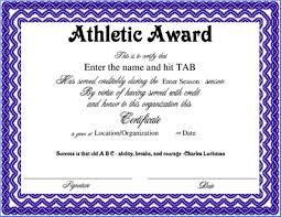 Sample Awards Certificate Athletics Award Certificate Template Example 2707