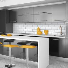 Kitchen Tiled Splashback White Tiles Black Grout Effect Kitchen Splashback Panel