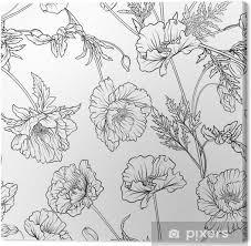 Canvas Naadloze Patroon Met Poppy Bloemen In Botanische Vintage