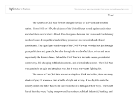 Civil War Essay U S Civil War Essay International Baccalaureate History
