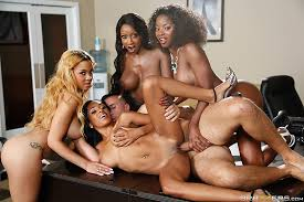 Reverse gangbang with one black free