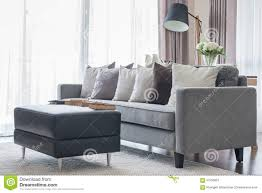 Modern Gray Living Room Pillows On Modern Grey Sofa In Living Room Stock Photo Image