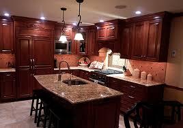 cherry cabinets with granite image and shower mandra
