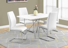 i 1038 i 1078 5 pc dining table 32 x 48 white chrome metal dining chair