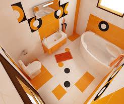 Bilder 3d Interieur Badezimmer Orange Schwarz Baie Biosfarm 4