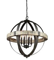 artcraft castello 6 light 27 inch distressed wood and black chandelier ceiling light ac10016 open