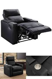 Leather Seat Lounge Sofa Recliner With Cup Holder InArm Storage Home  Theater Recliner Cup Holder And Storage72