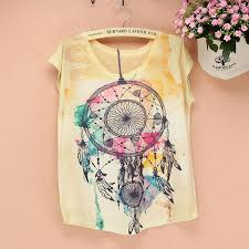 Dream Catchers Wholesale Wholesale Fashion Dream Catcher Printed Women Top Tees 100 97