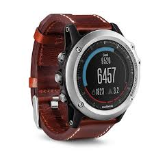 garmin fenix 3 multisport gps watch sapphire with leather band angle