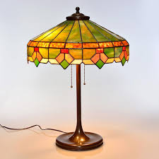 leaded glass shade leaded glass lamp shade attributed to lamb bros has erscotch geometric panels with a border pattern of white and yellow flowers and