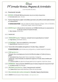IV Jornadas Técnicas, Programa de Actividades: