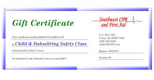 babysitting certificates southwest cpr first aid gift certificates