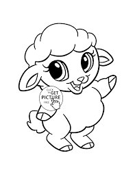 Baby Sheep Animal Coloring Page For