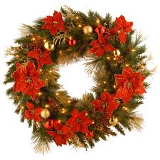 national tree company decorative collection home spun 36 in artificial wreath with clear lights national tree company wreaths c18