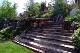 steps of railroad ties landscaping